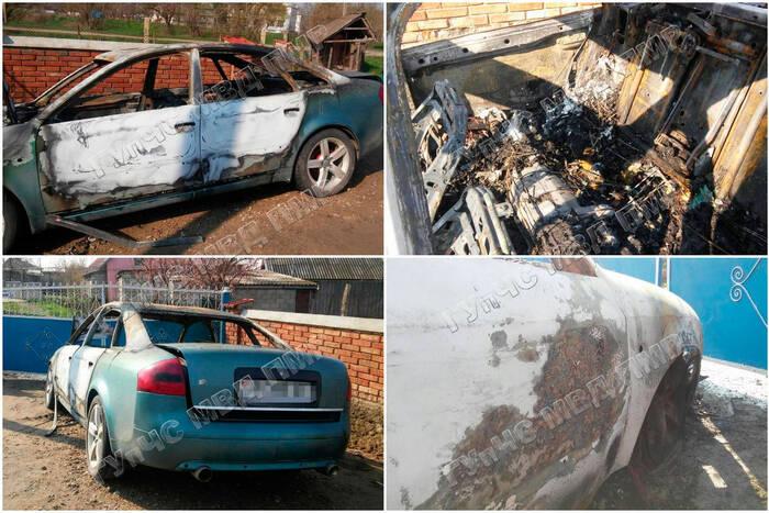 В Григориополе из-за короткого замыкания электропроводки сгорела иномарка