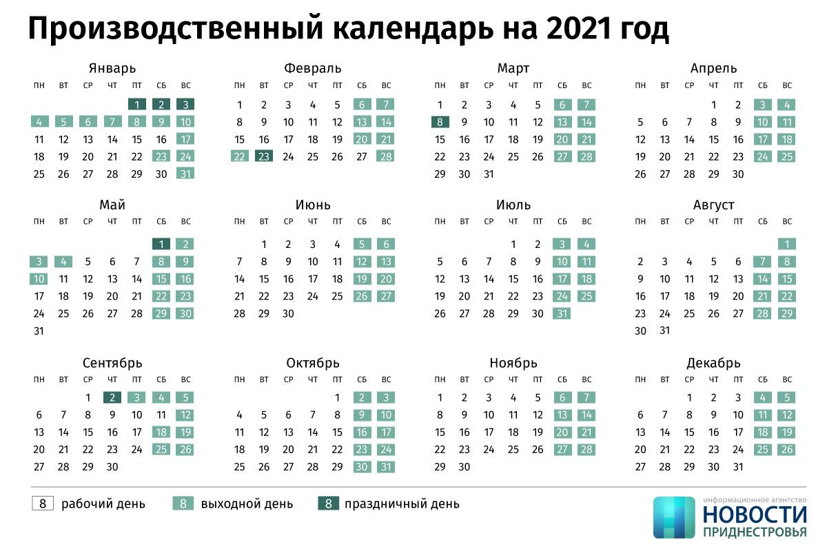 Производственный календарь на 2021 год Приднестровье
