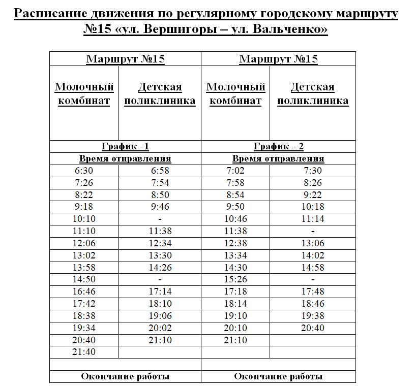 Расписание маршрутки №15 в Рыбнице