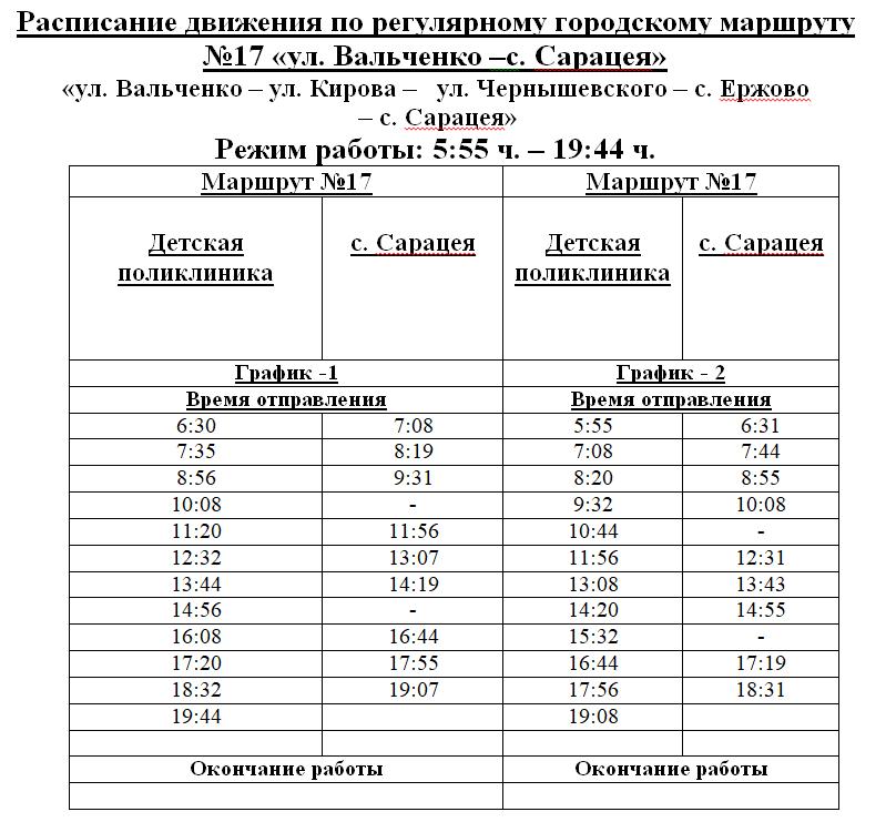 Расписание маршрутки №17 в Рыбнице